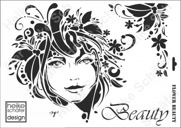 Schablone-Stencil A3 192-0626 Flower Beauty