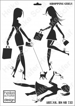 Schablone-Stencil A3 175-0732 Shopping Girls