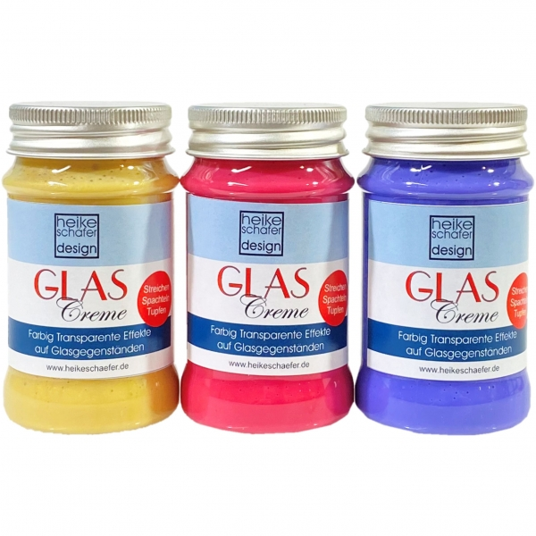 Glas Creme Set 3x90ml, Transparent Violett - Rot - Gold